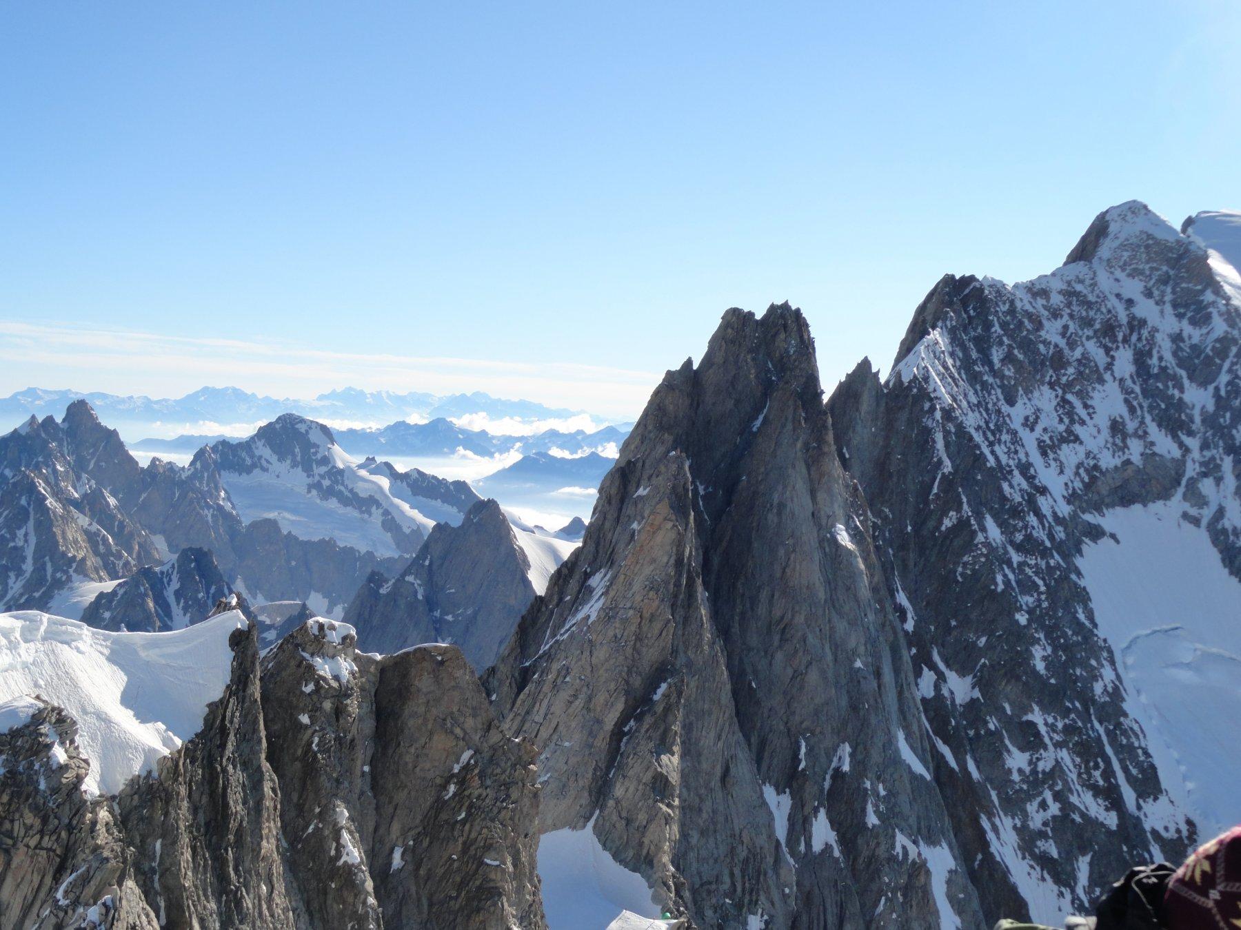 Panorama dalla cima del Dome verso le Grand Jorasses