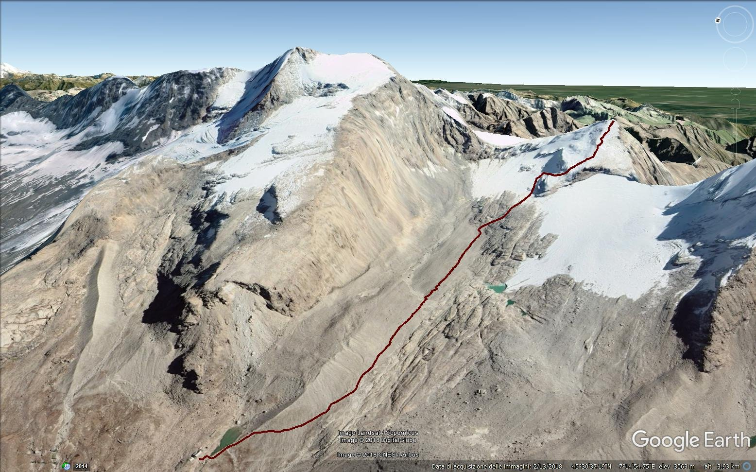 traccia gps dal rifugio Vittorio Emanuele alla Tresenta in google earth