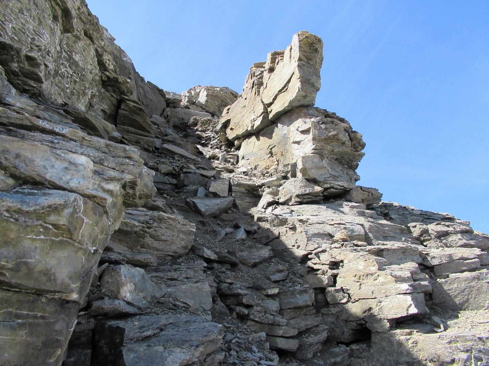 Il canalino sfasciumoso, siamo risaliti passando sulle prime rocce di destra