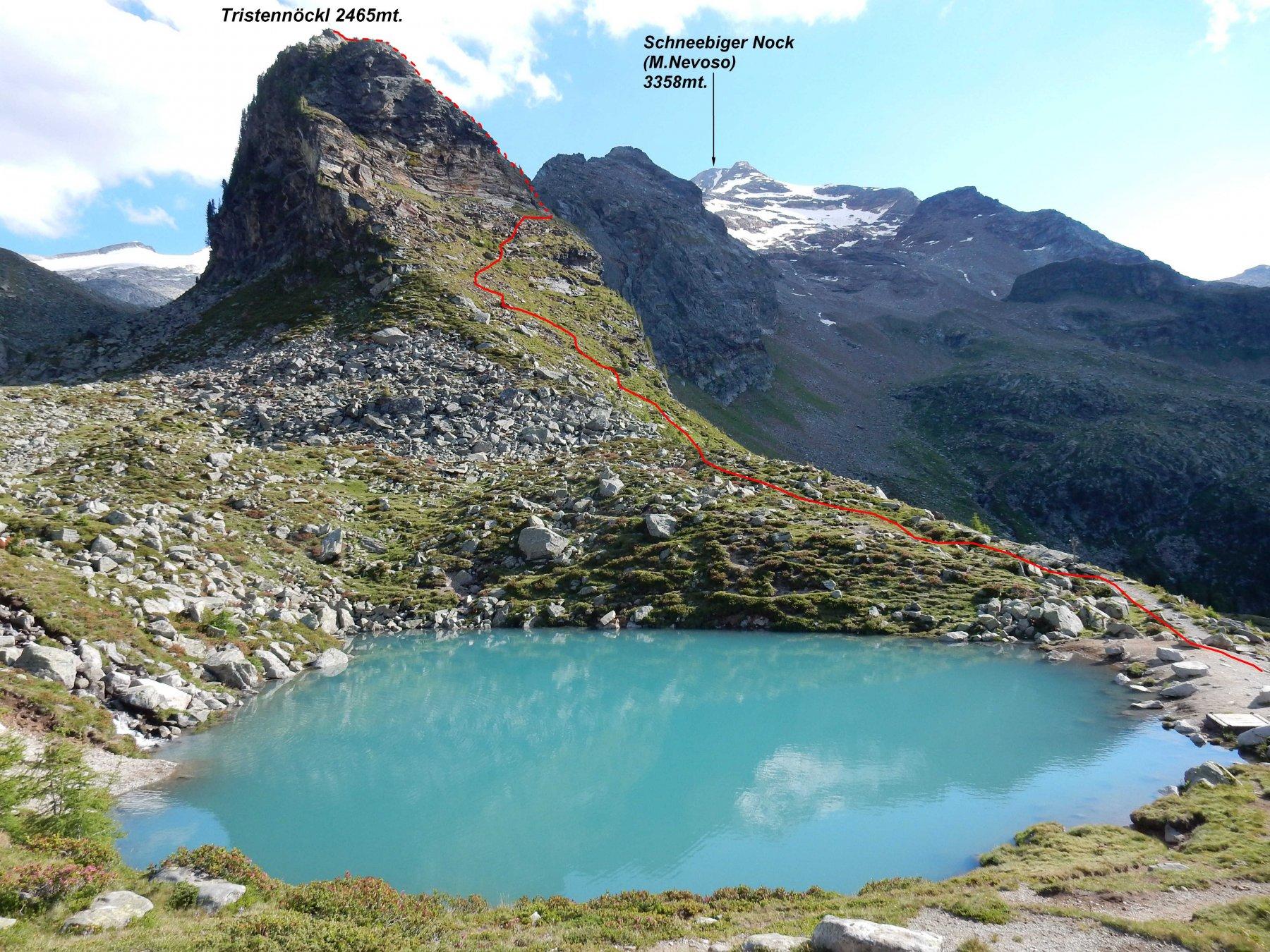 La traccia in rosso di salita,vista dal laghetto sopra la Kasseler Hutte.