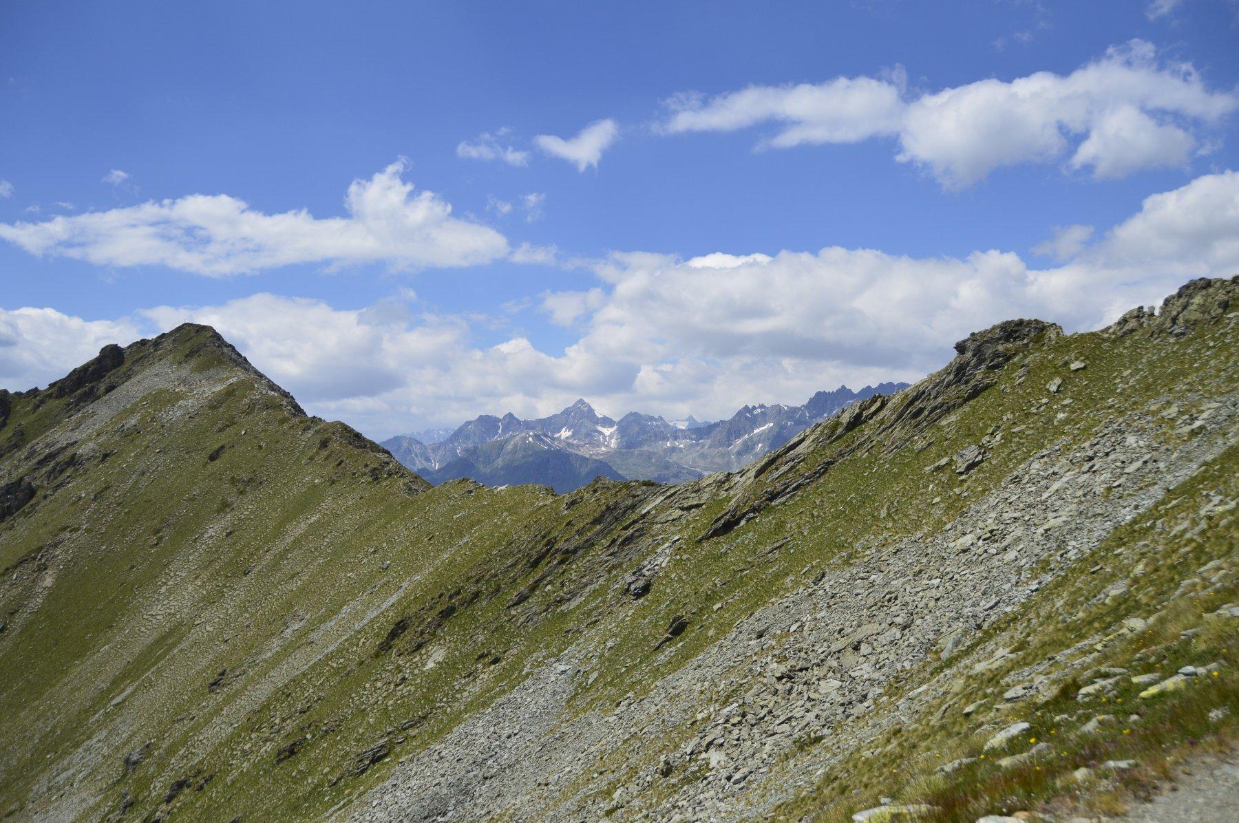 La parte finale della cresta, la parte a dx dove si vede la roccia è la più impegnativa