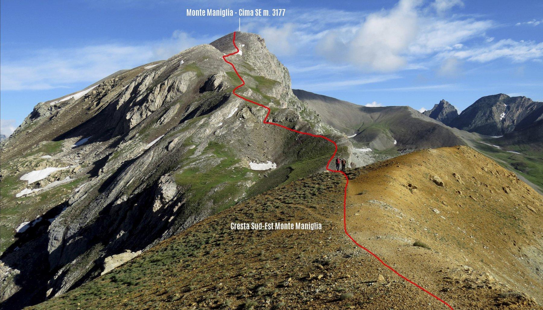 parte alta del nostro itinerario di salita osservato da quota 2950 m