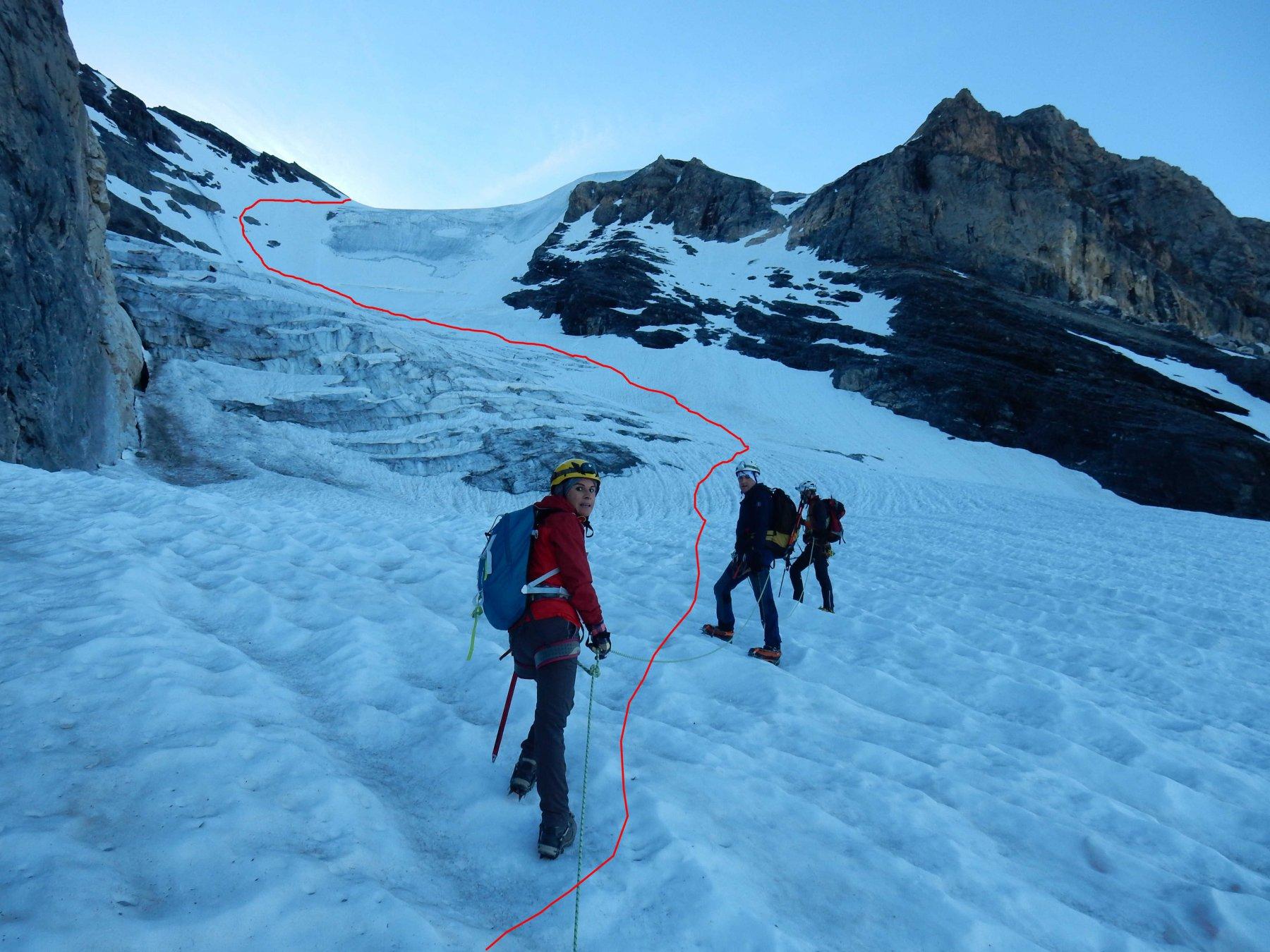 Dal ghiacciaio la traccia in rosso del tratto finale.
