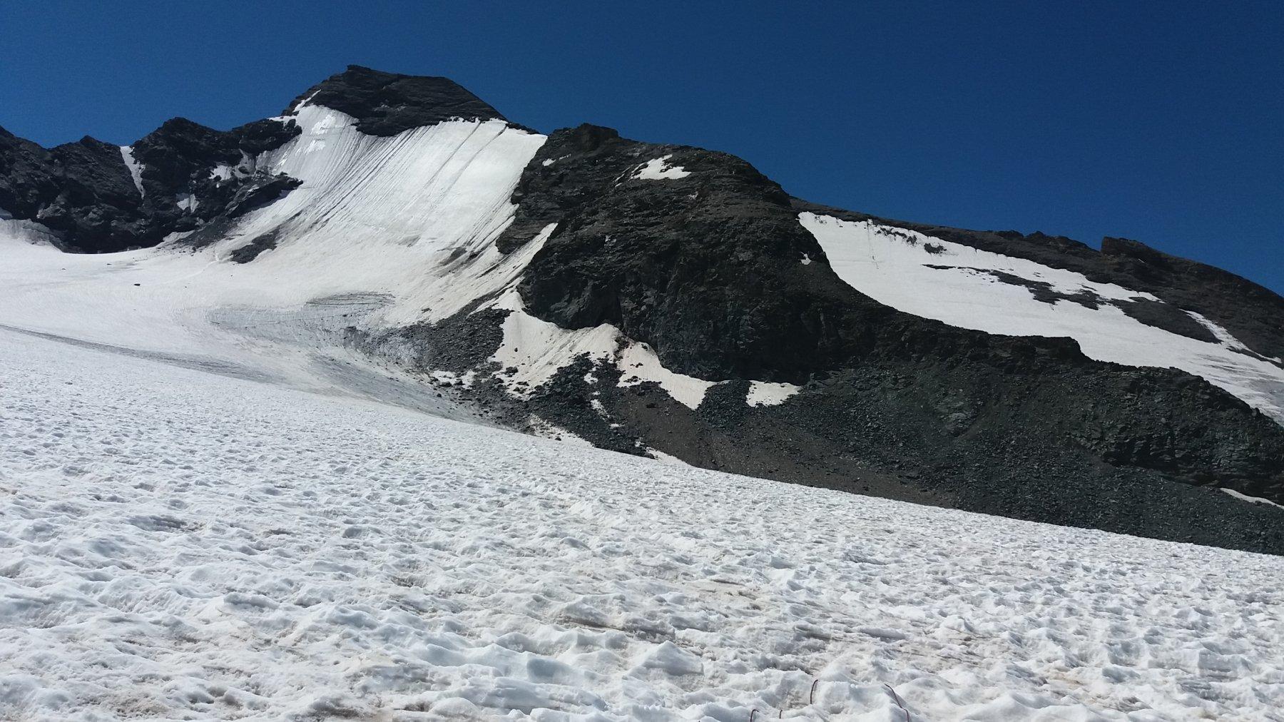 Il ghiacciaio Source d'Isere e la parete nord della Grande Aiguille Rousse