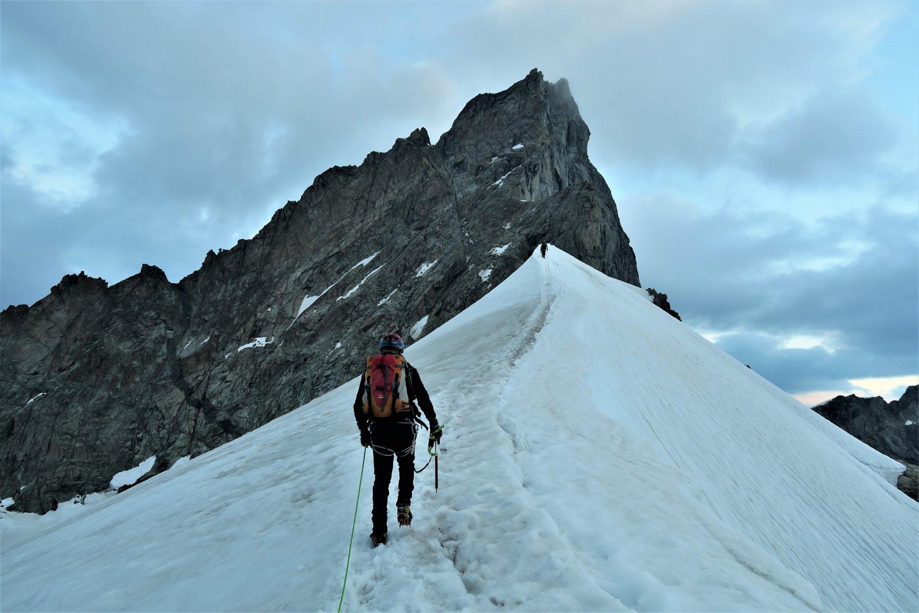 La spettacolare and easy Schneegrat poco prima dell'arrampicata finale