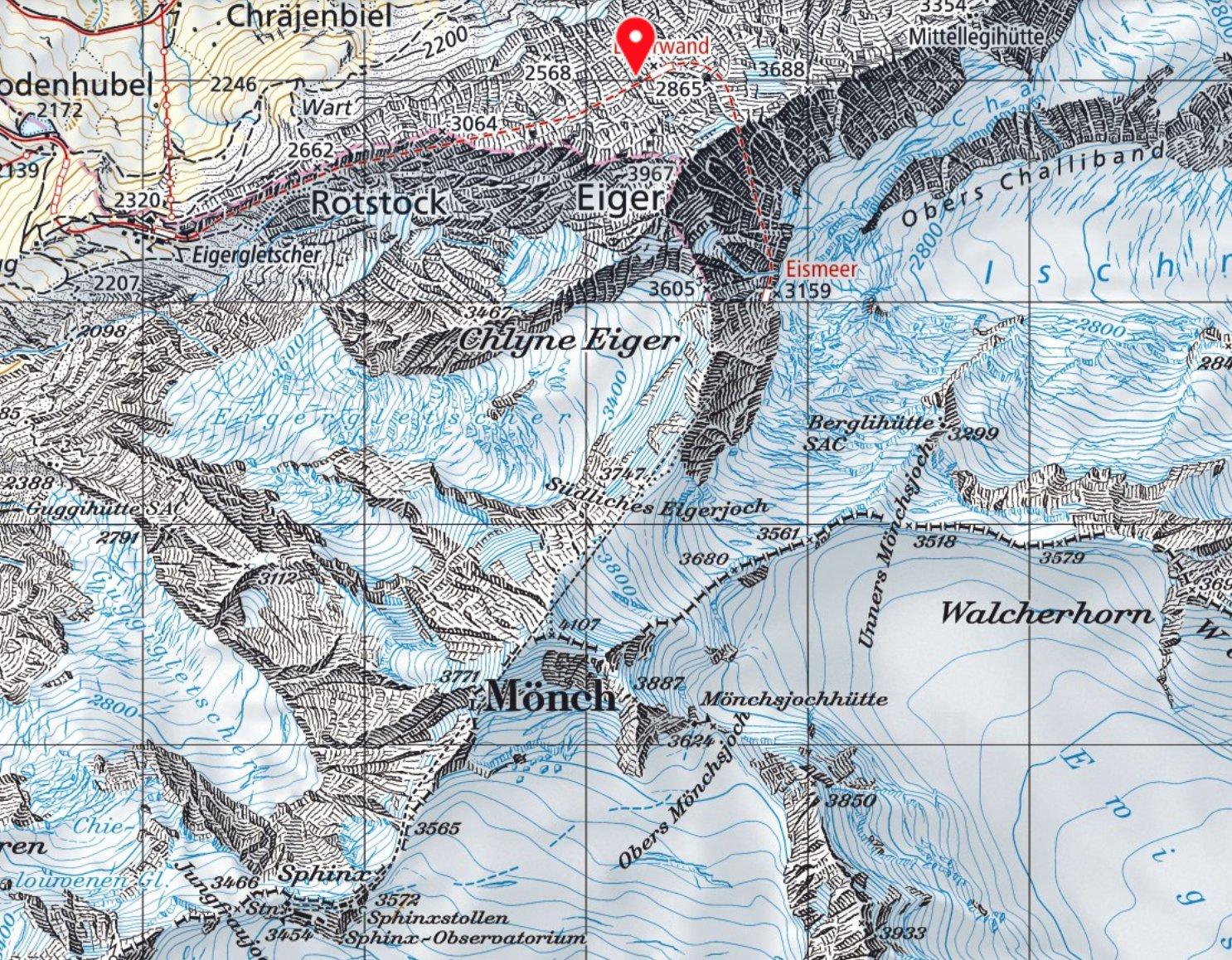 Mappa topografica Eiger e creste percorse