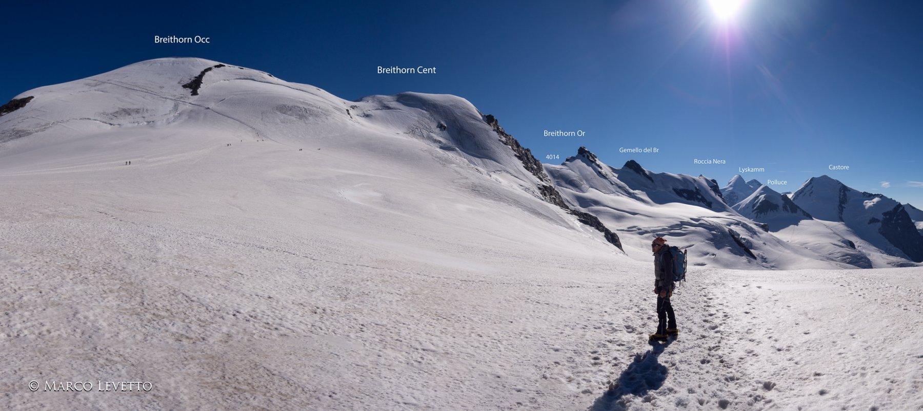 Panoramica della cresta integrale dei Breithorn