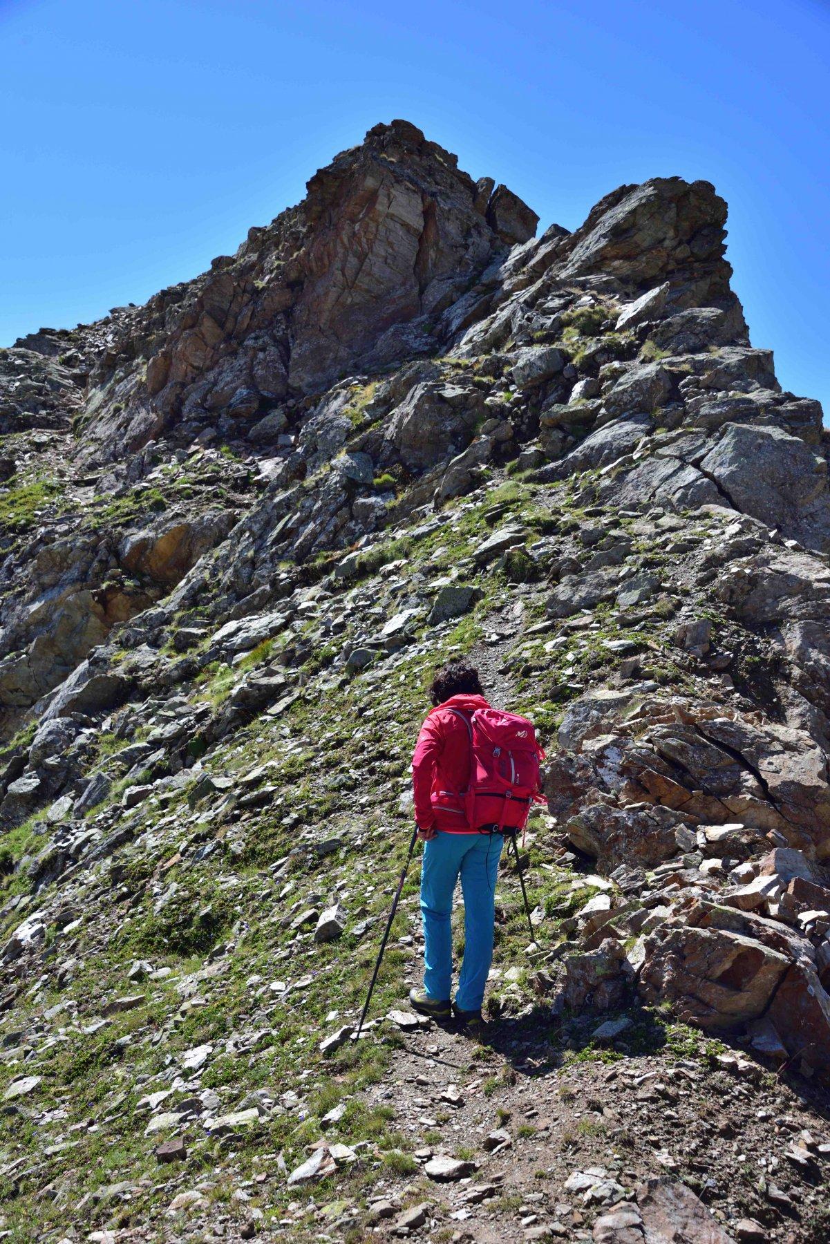 L'ultimo tratto di cresta verso la vetta del Flassin