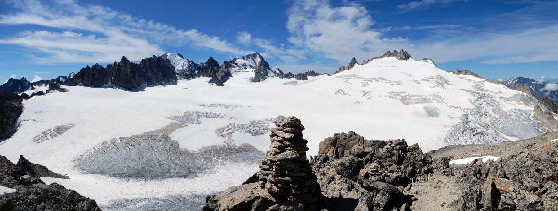 ghiacciaio del trient con aig. d'argentiere, di chardonnet, du pissoir e du tour