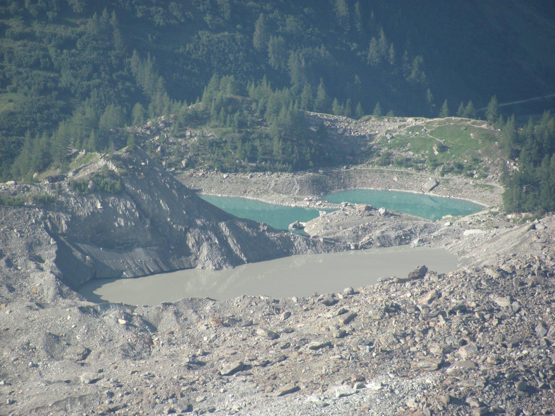 zoom sul lago del Miage (tre parti), dal Rifugio