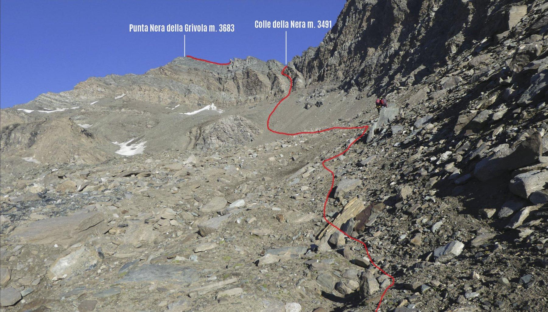 avvicinamento al Colle della Nera e alla cima con l'itinerario seguito