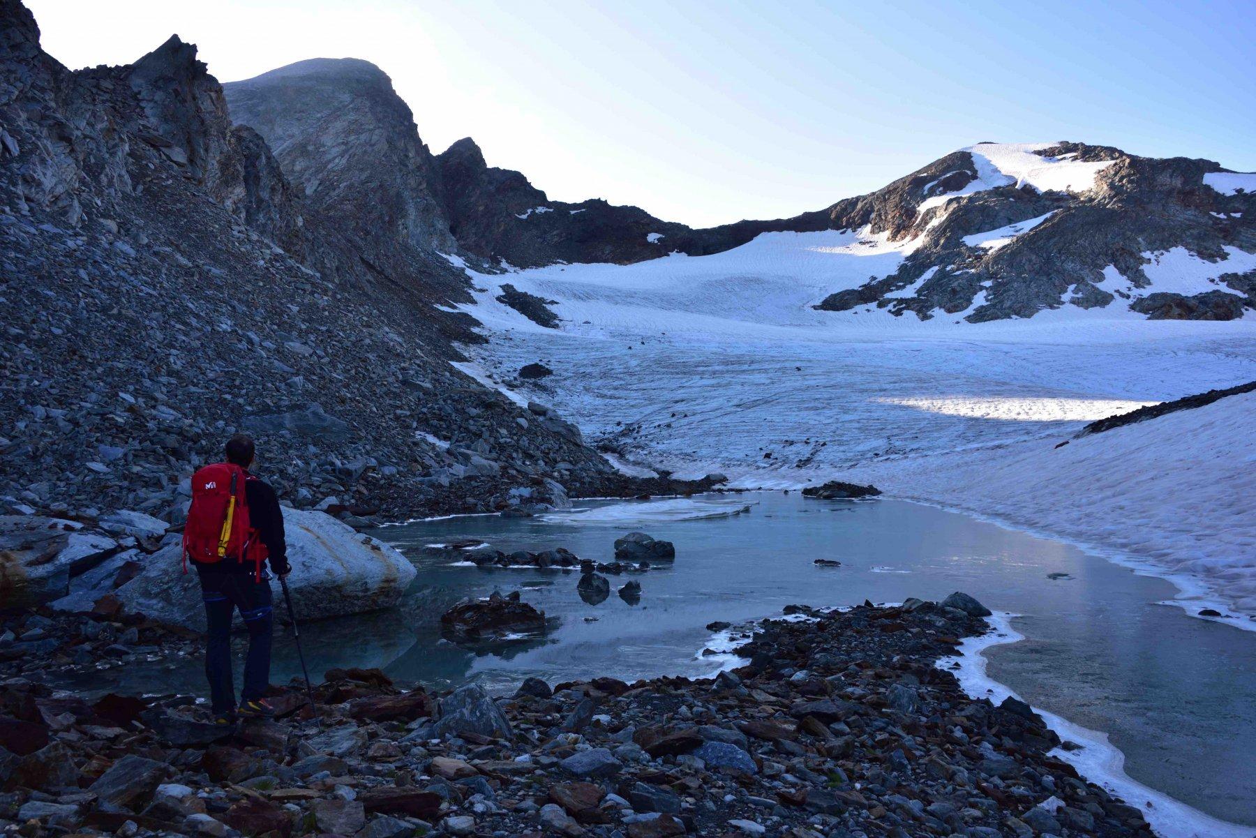 All'inizio del ghiacciaio des Uselettes.
