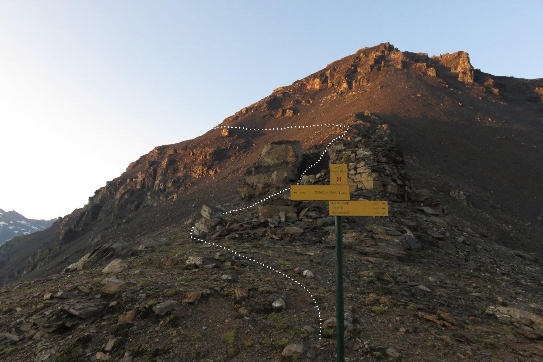 il percorso da noi seguito dopo il colle di Vaudet
