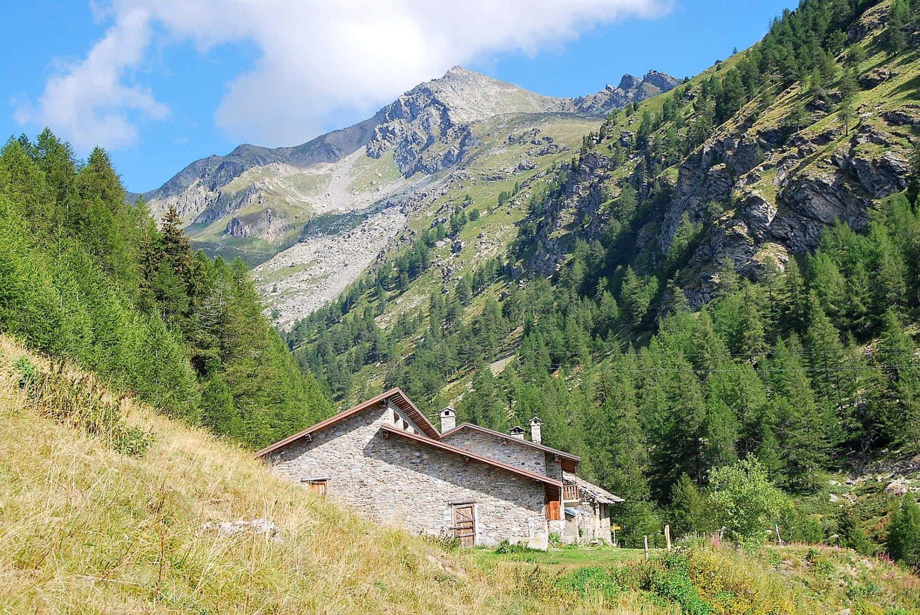 L'arrivo all'alpe di Barasson; colle e punta sullo sfondo