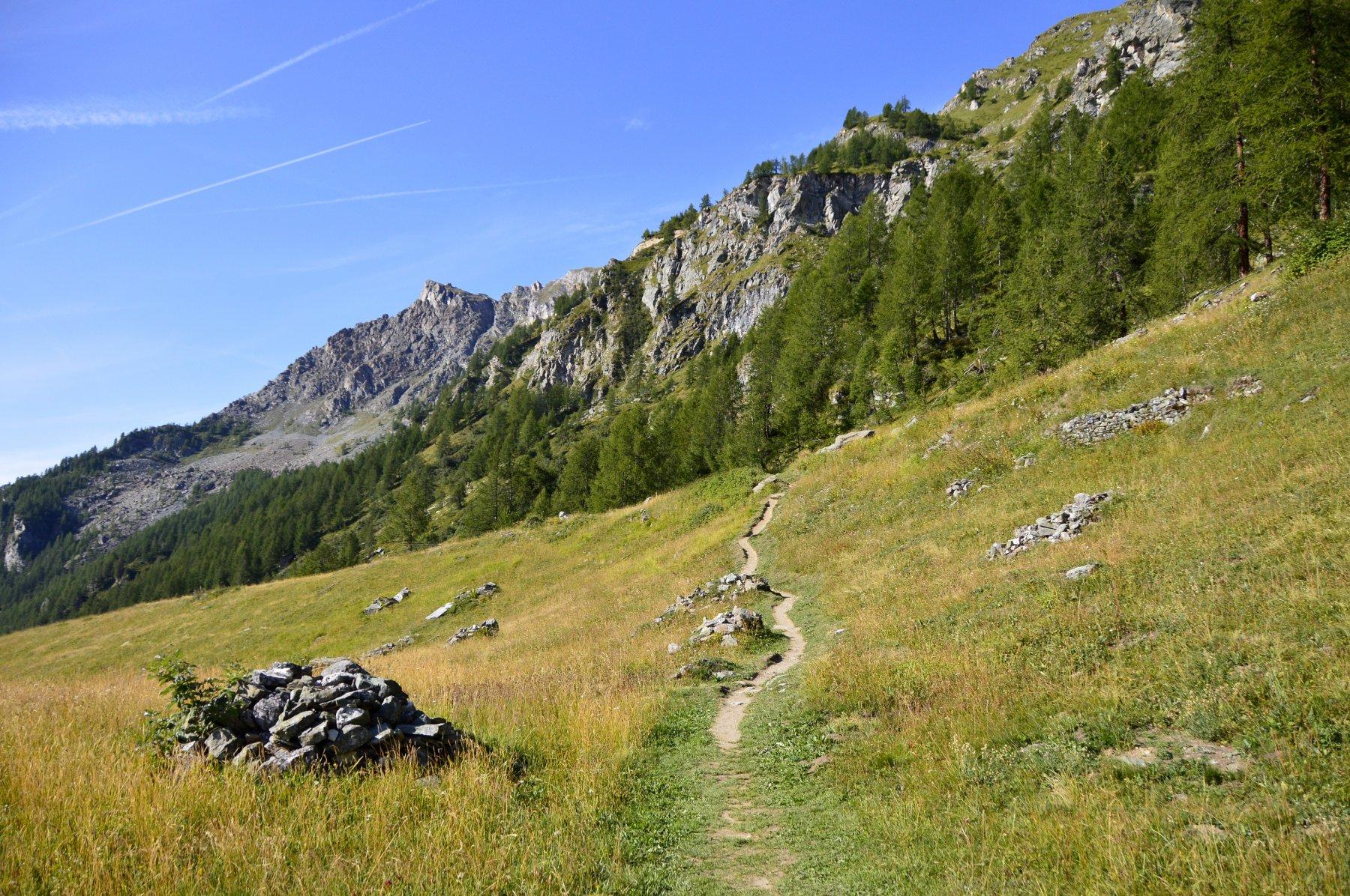 Prima parte del sentiero, con il Pancherot sullo sfondo.