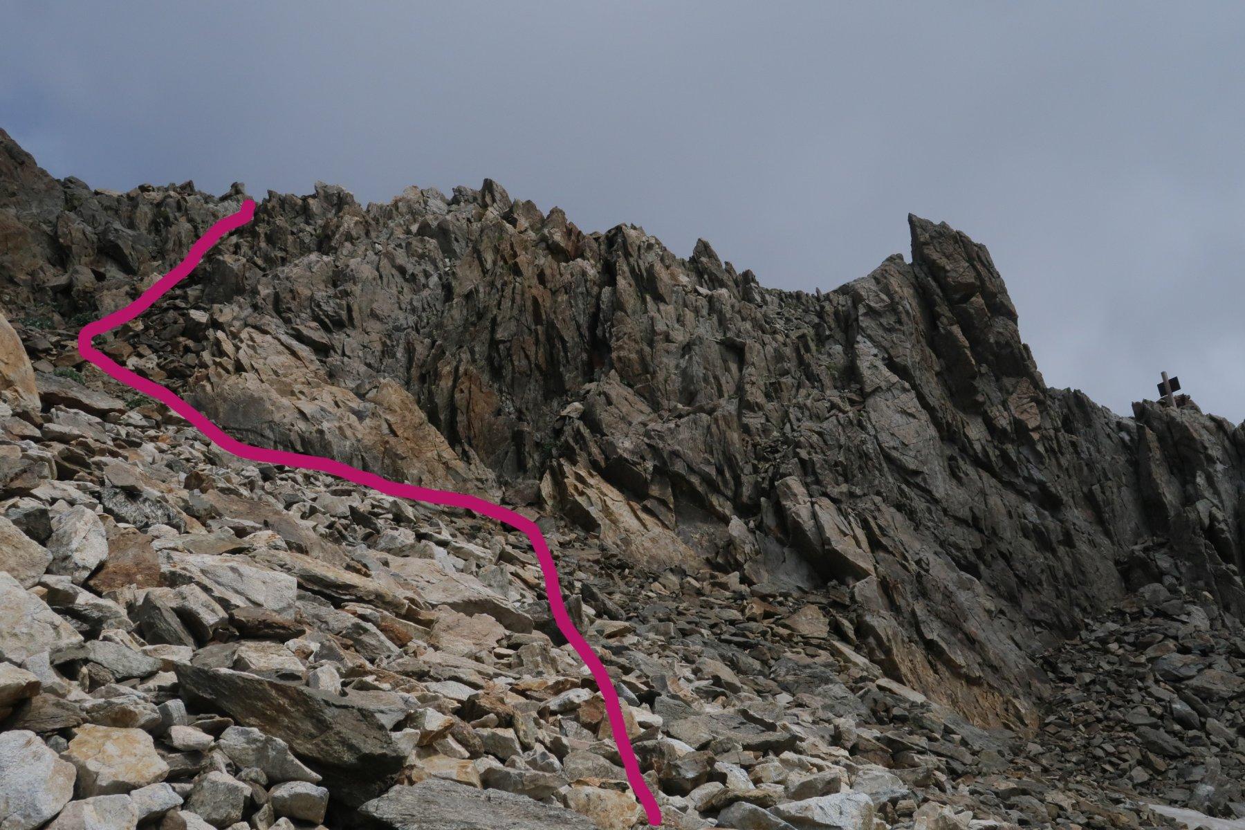 Accesso alla cresta dal lato del Remondino