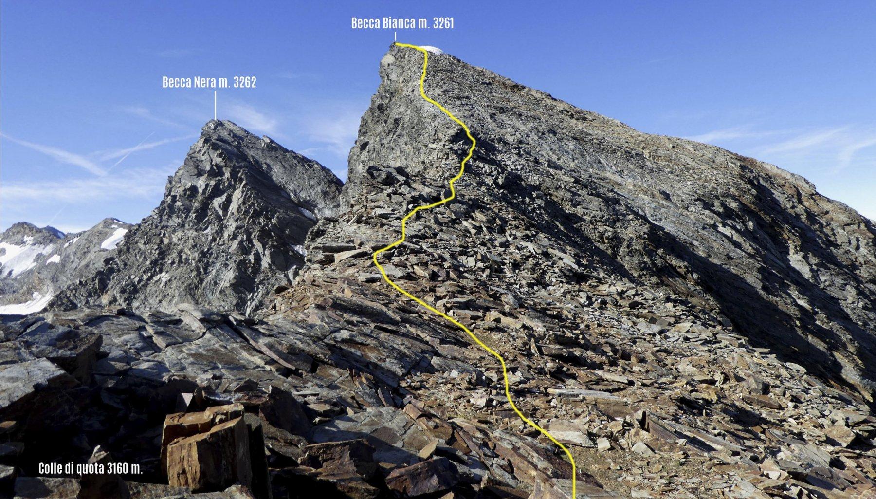 parte finale del nostro itinerario di salita visto dal colletto di quota 3160 m.
