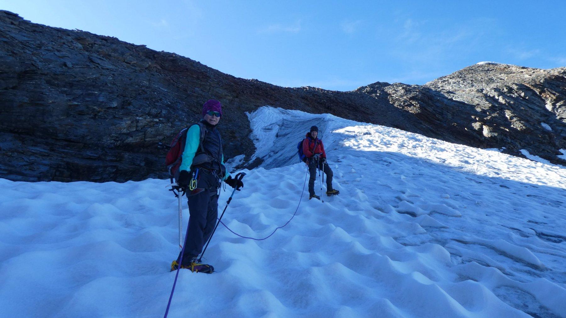 ultimo tratto del ghiacciaio, prima di arrivare al colle di quota 3160 m.