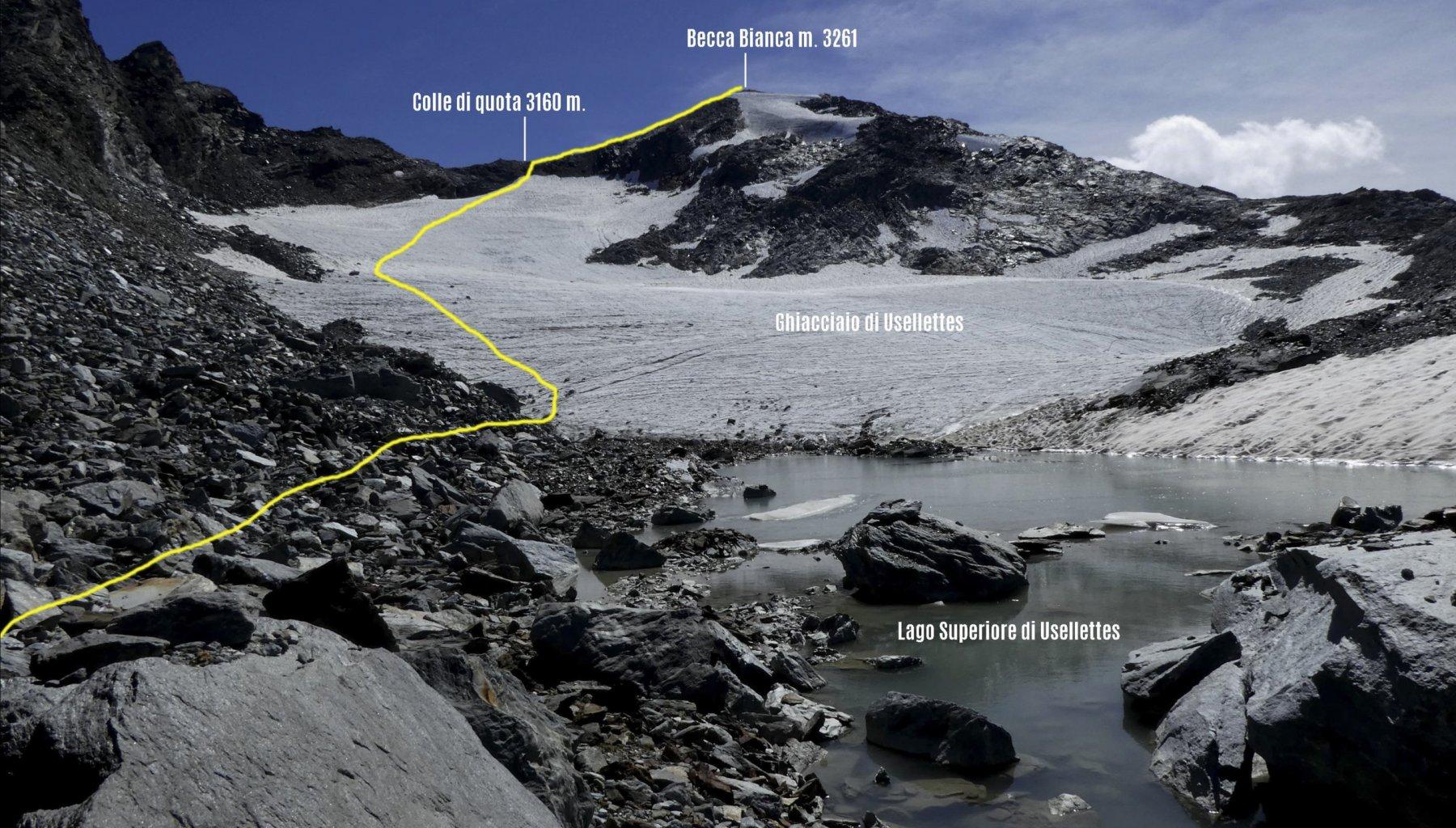 la via di salita vista dal Lago di Usellettes superiore