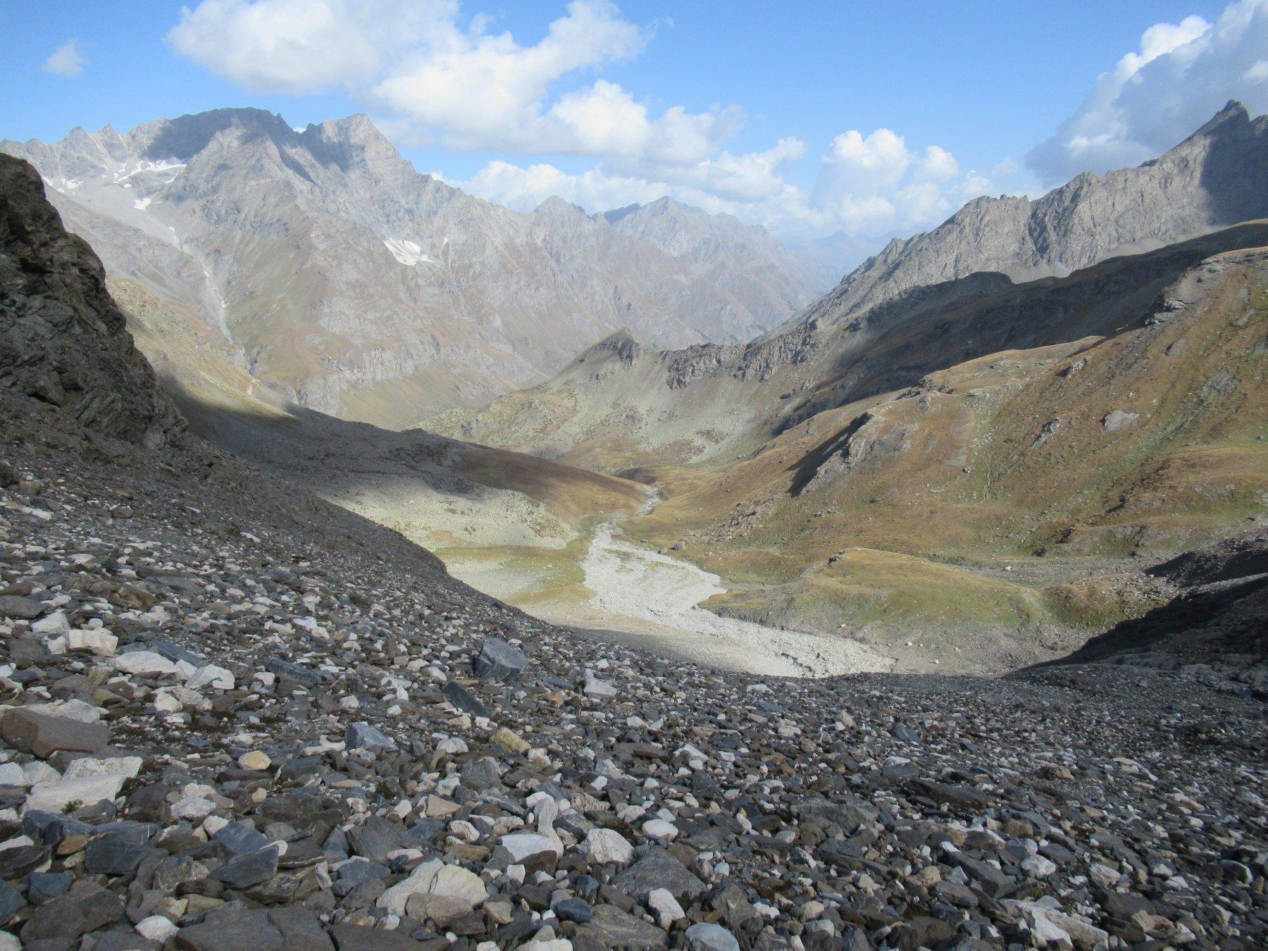 Il Vallone Vaudala dalle pietraie soprastanti