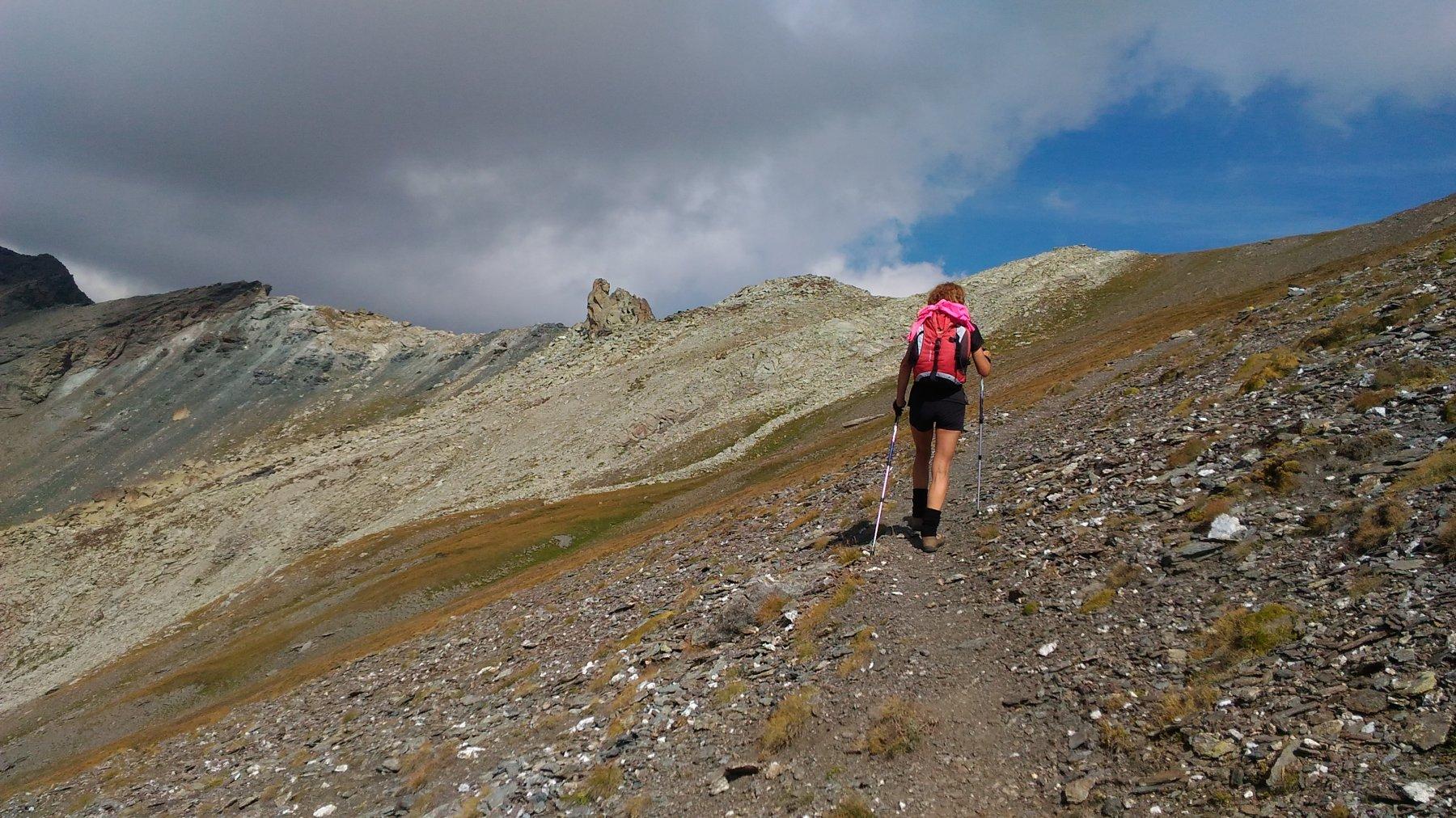 verso il colle dell'Agnello, con sullo sfondo il Gros Muttet e l'anticima della Rocca