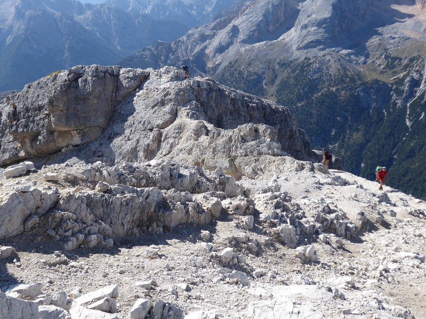 Il tratto attrezzato visto dalla cima.