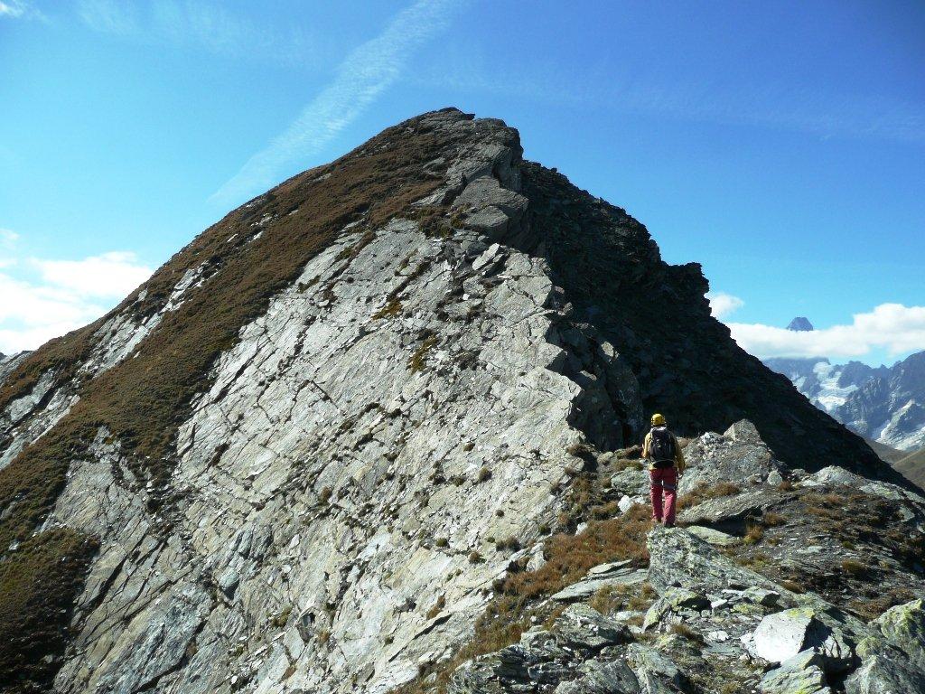 Tratto di cresta con placca da noi percorso, rilievo secondario prima del Fourchon, aggirabile.