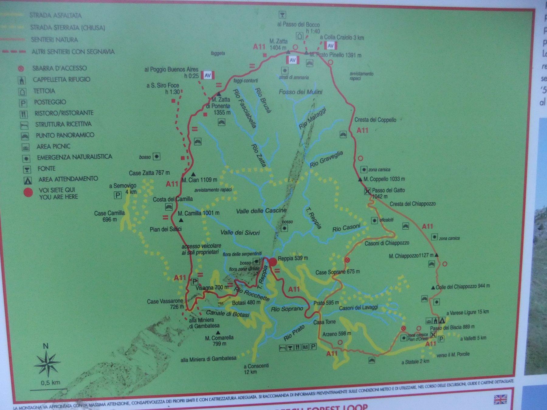 Mappa del tracciato ad anello