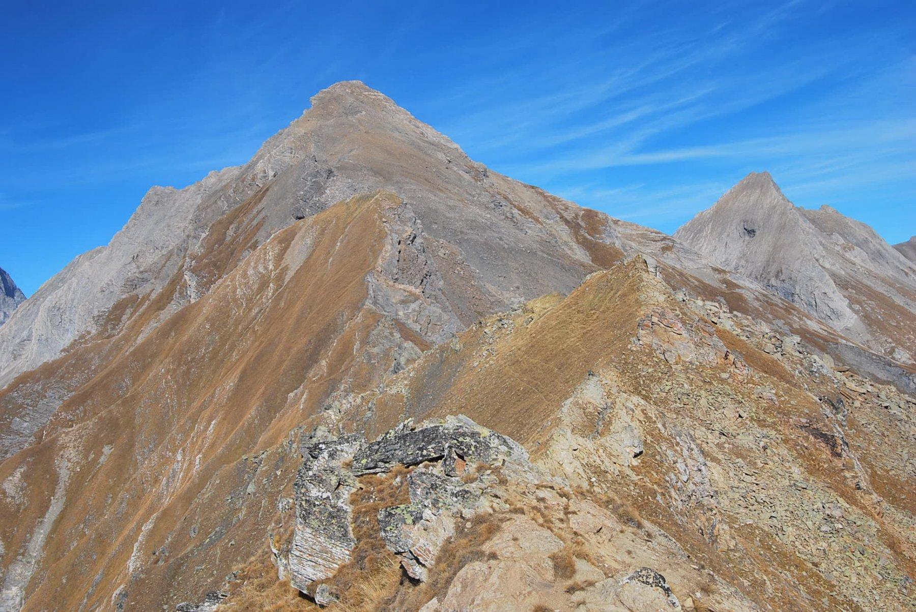 Dalla cima 2825 m: tutta la cresta verso la Grande Rochere e l'Aig. Bonalex