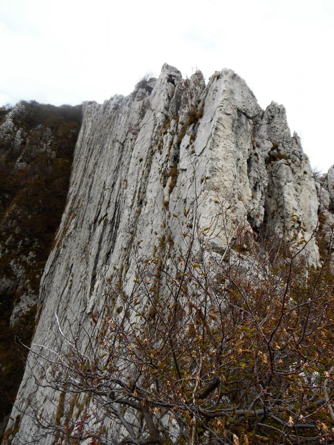 La parete verticale che scende dalla cresta OSA