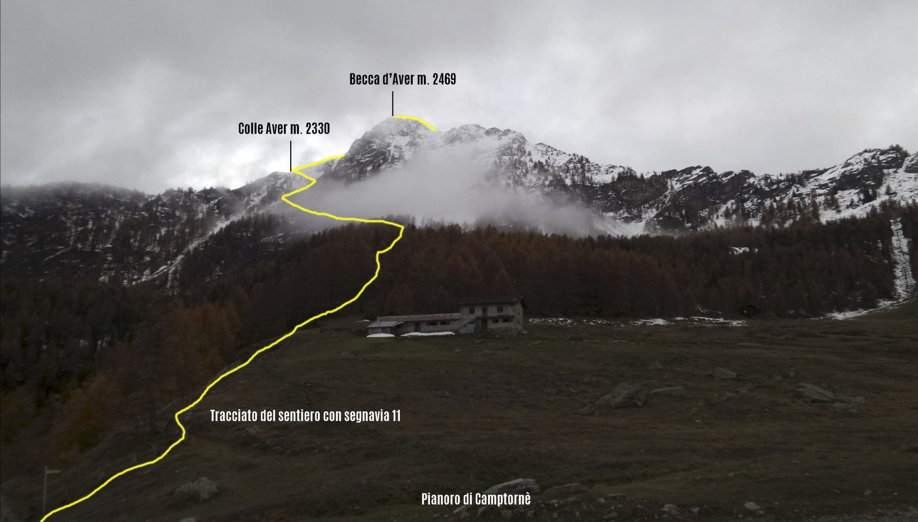 itinerario di salita e cima osservati dal punto di partenza