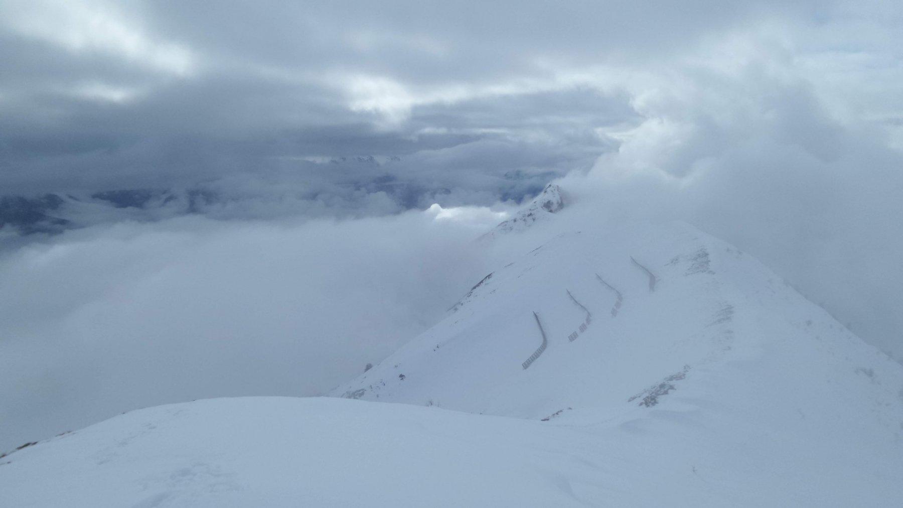 cresta sommitale e Cima Longhede (la cima è coperta dalle nuvole)