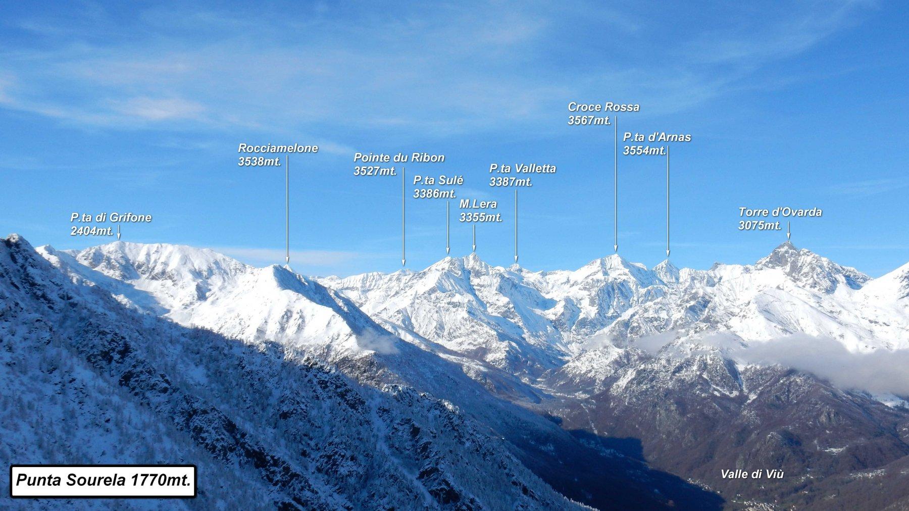 Panorama dalla Punta Sourela sulla Val di Viù.