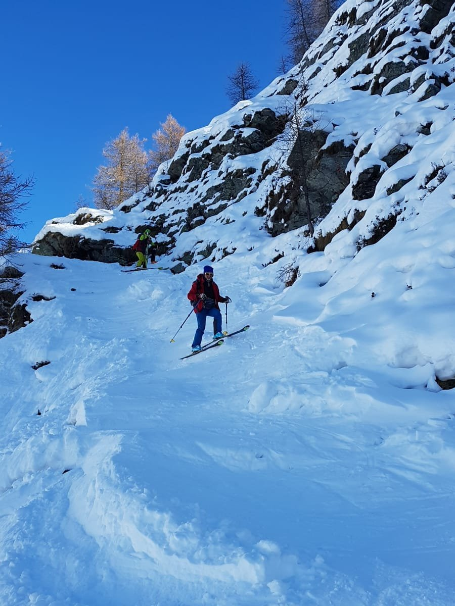 a raspa su neve dura per superare la bastionata