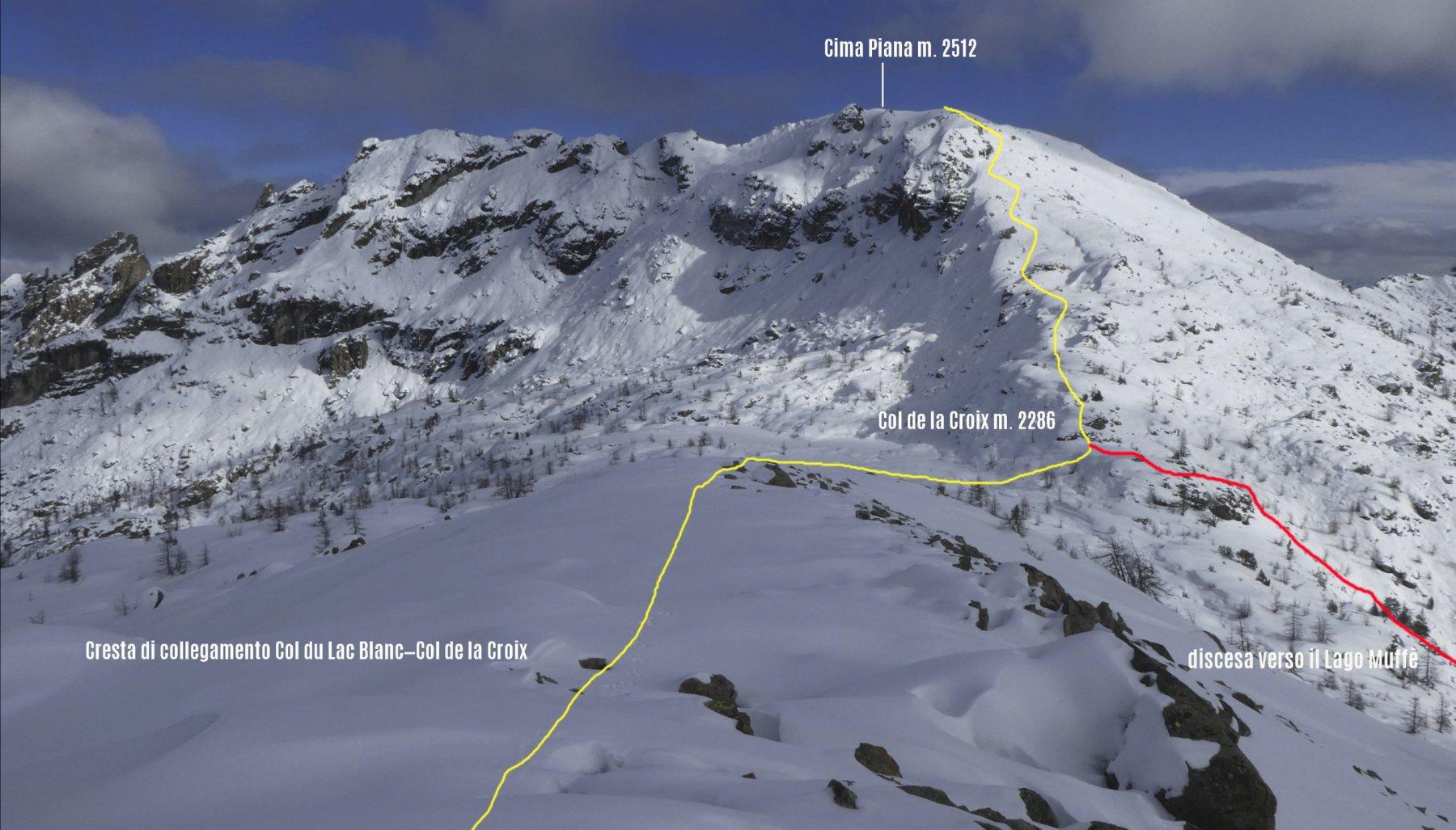 il nostro itinerario di salita osservato dal crinale che collega il Colle du Lac Blanc al Col de la Croix