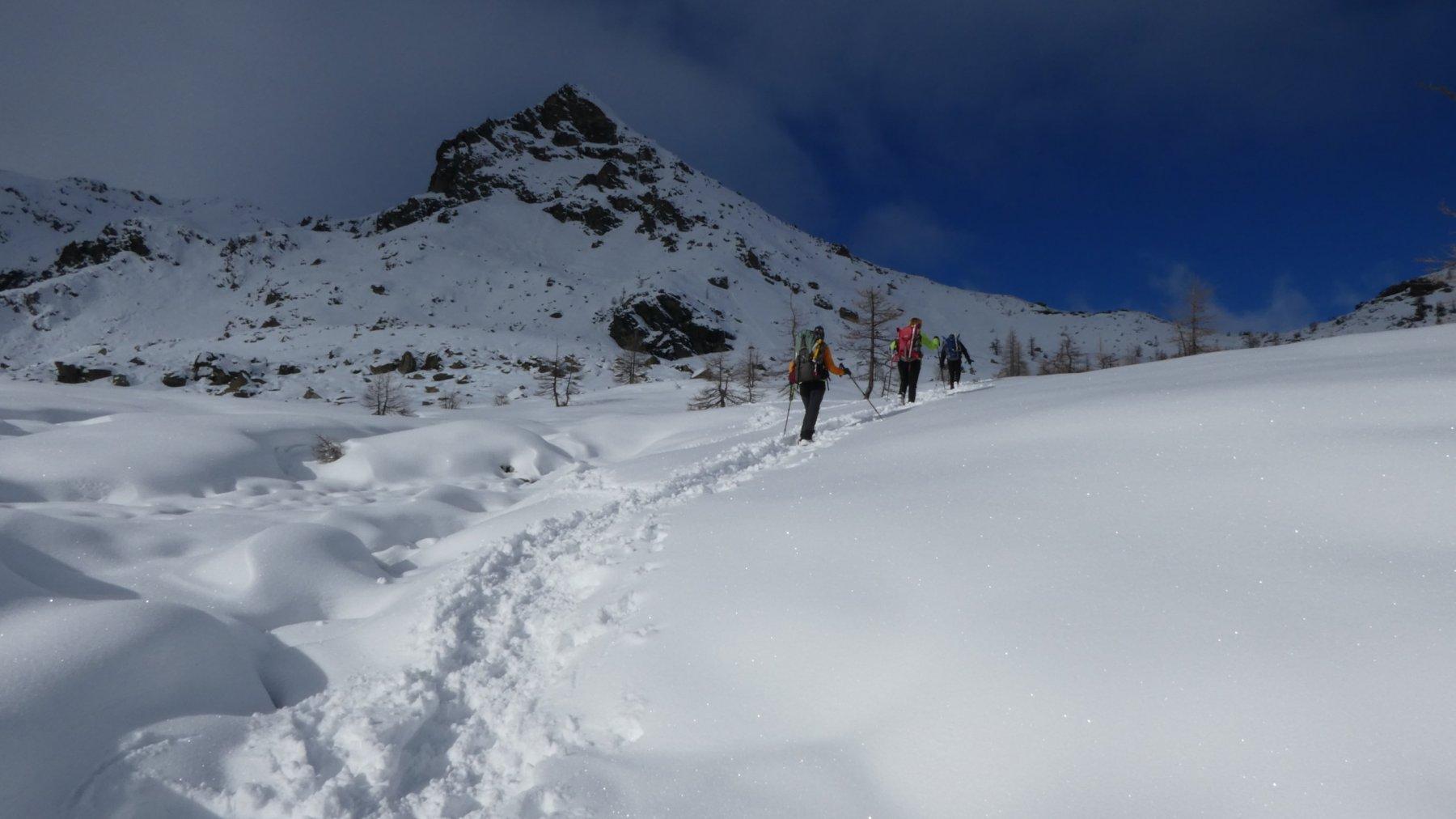 in salita verso il Colle du Lac Blanc e la Torretta