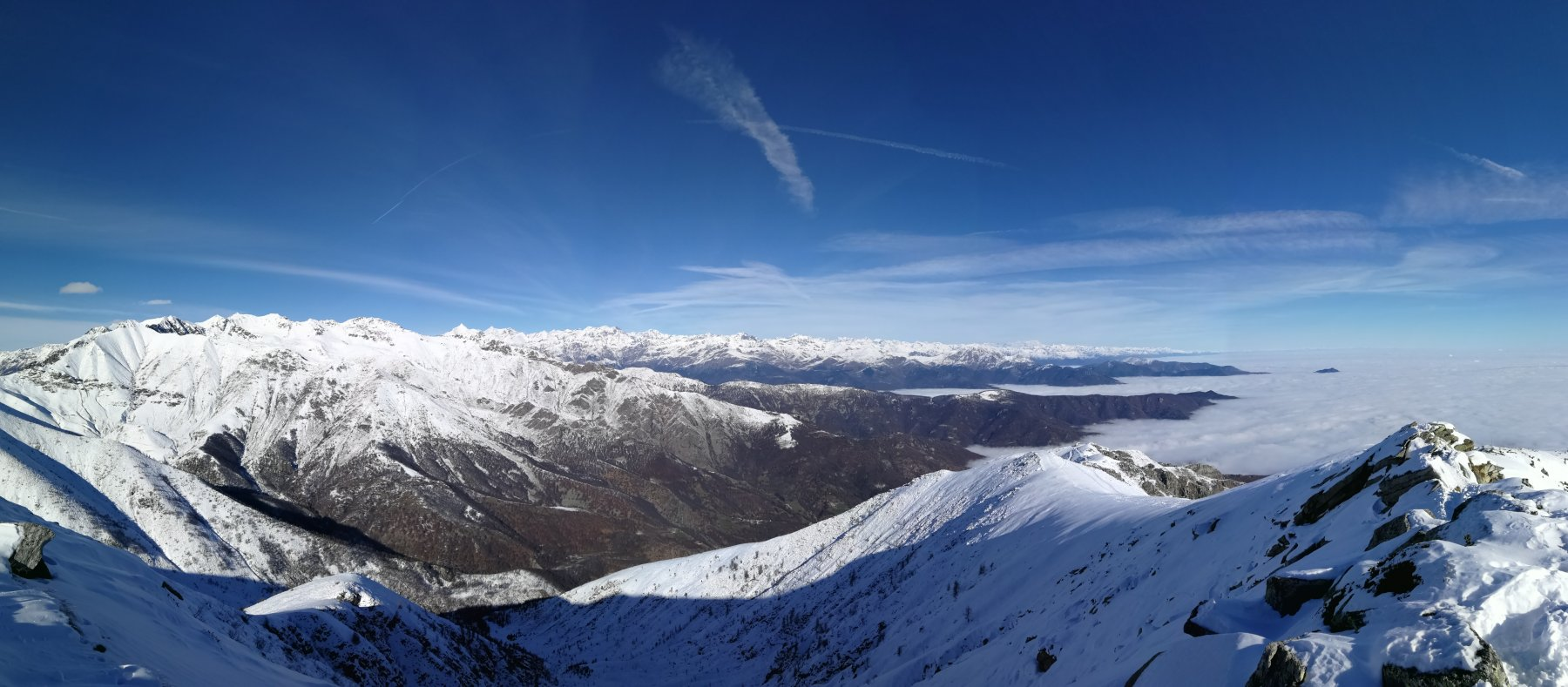 Cielo terso con visibilità a quasi tutto l'arco alpino (!!!)