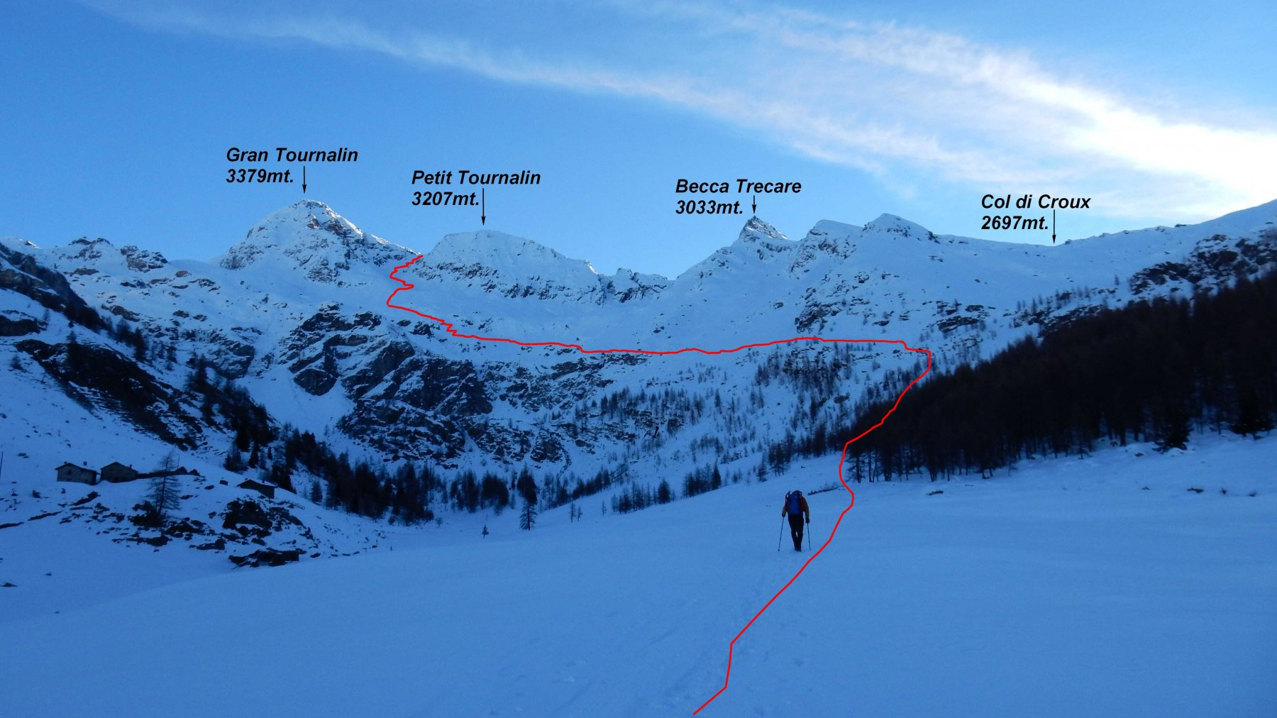 La nostra meta vista da Cheneil,in rosso la traccia di salita.