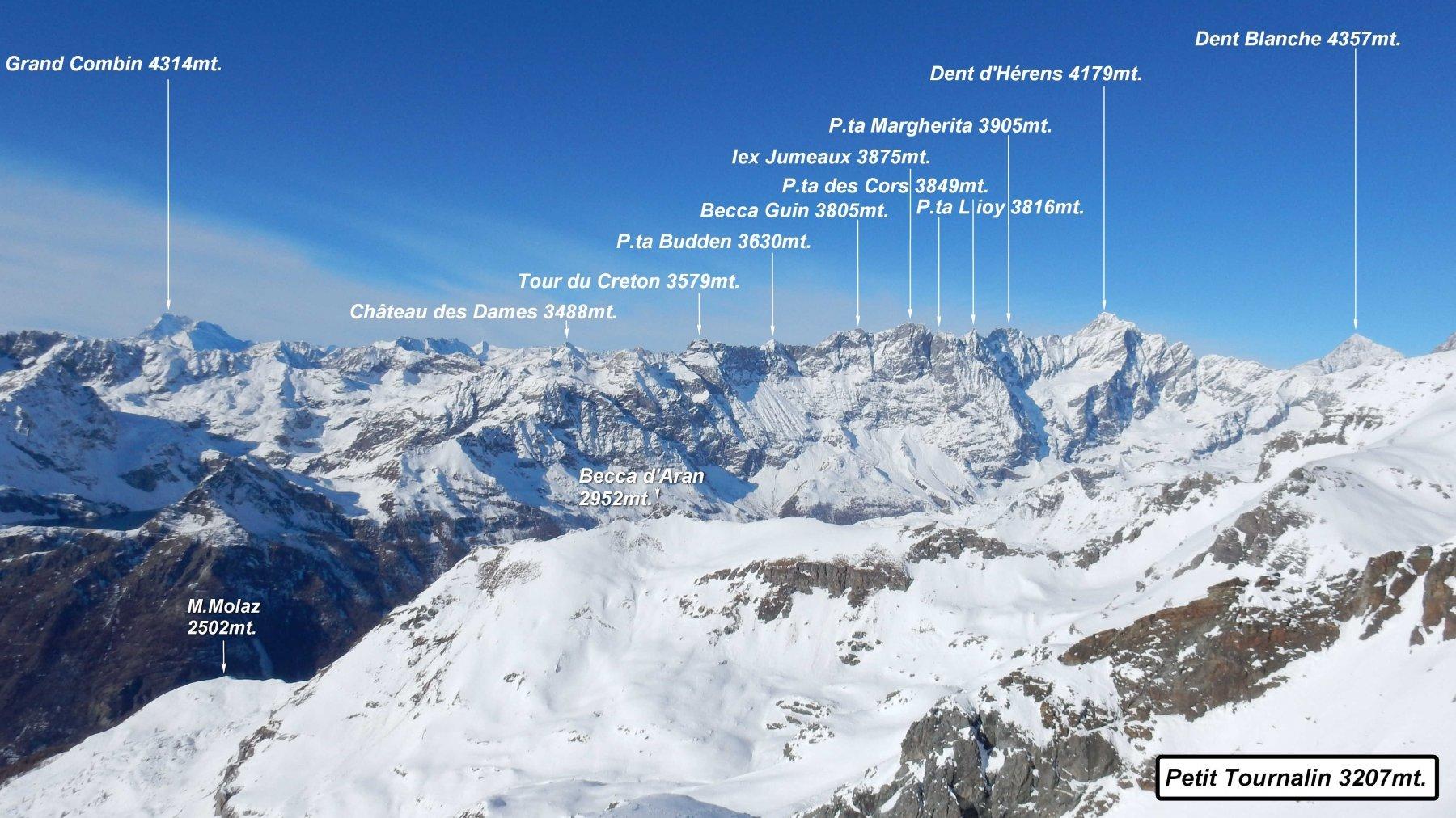 Panorama dalla vetta del Petit Tournalin.