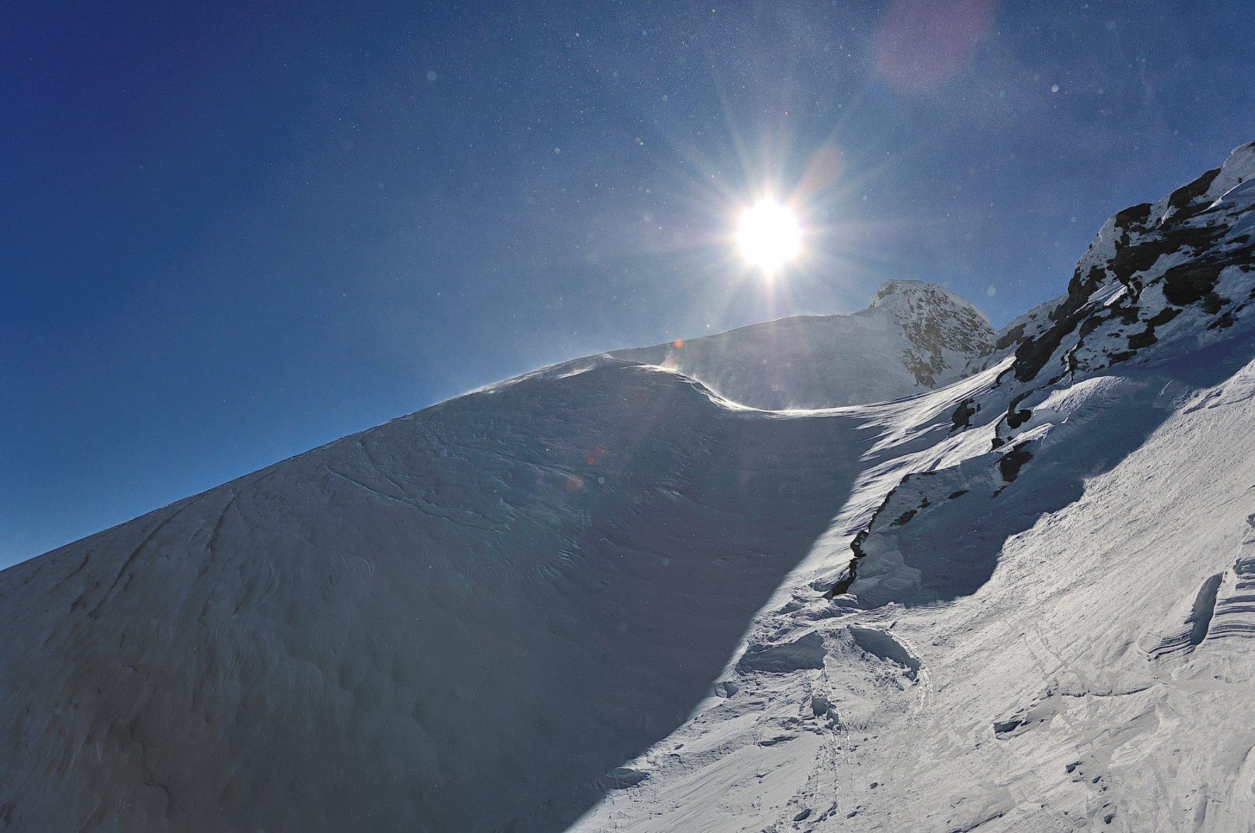Percorso movimentato dopo il Breithornpass verso la cima