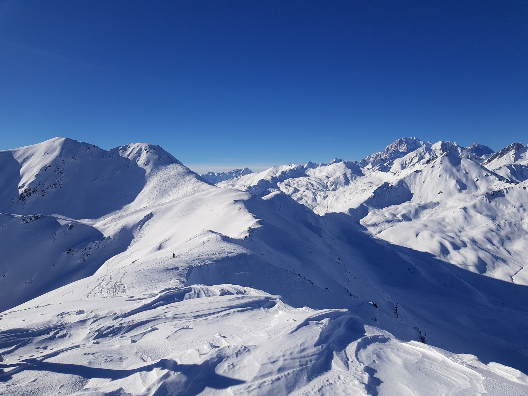 Cresta verso il Flassin e panorama sul Bianco