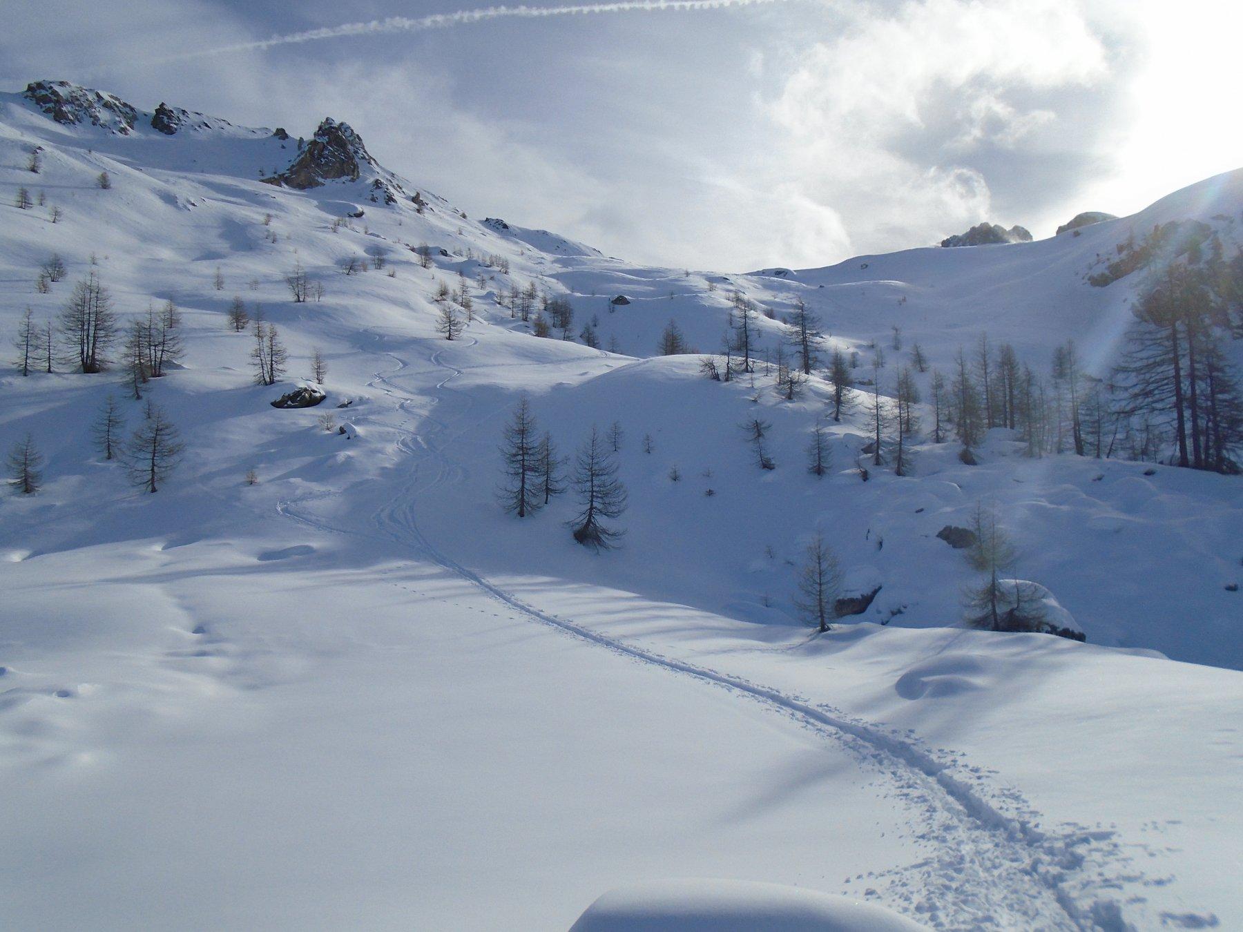 Bella neve in discesa sulla parte alta