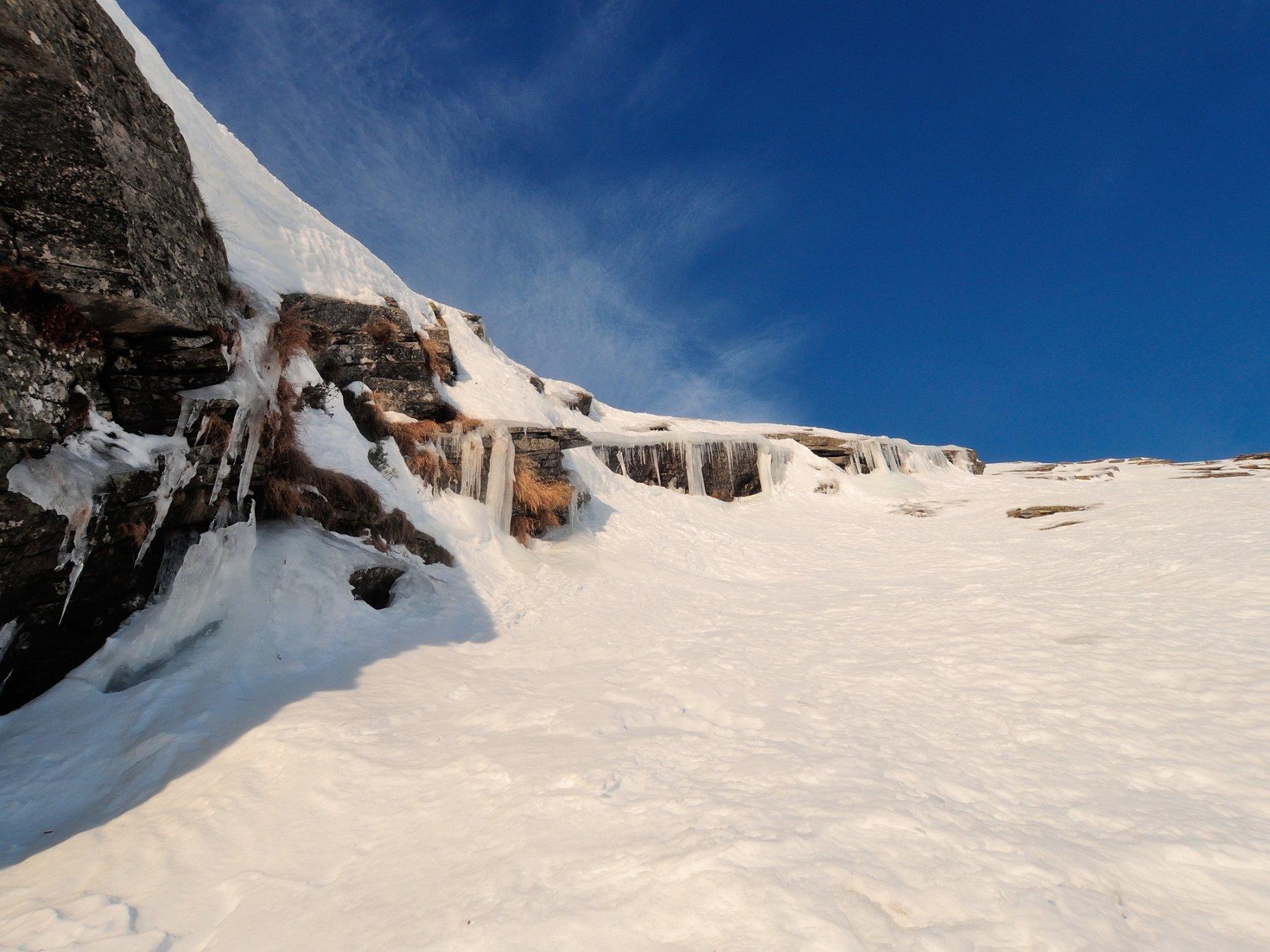 Salto di roccia con ghiaccio costeggiato salendo