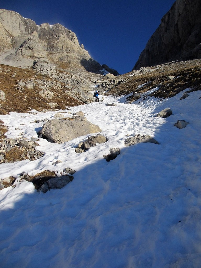 La neve nel canalino Scaglie