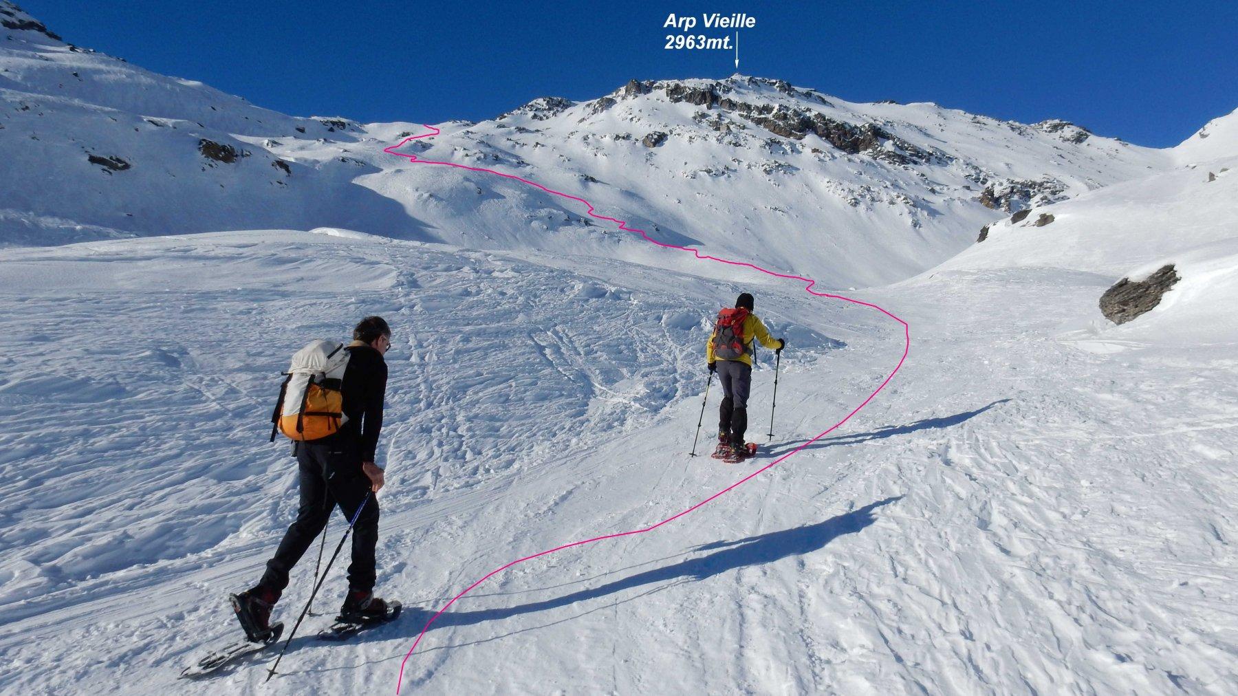 Sui pendii sopra Alp Arp Vieille con la traccia che porta alla spalla.