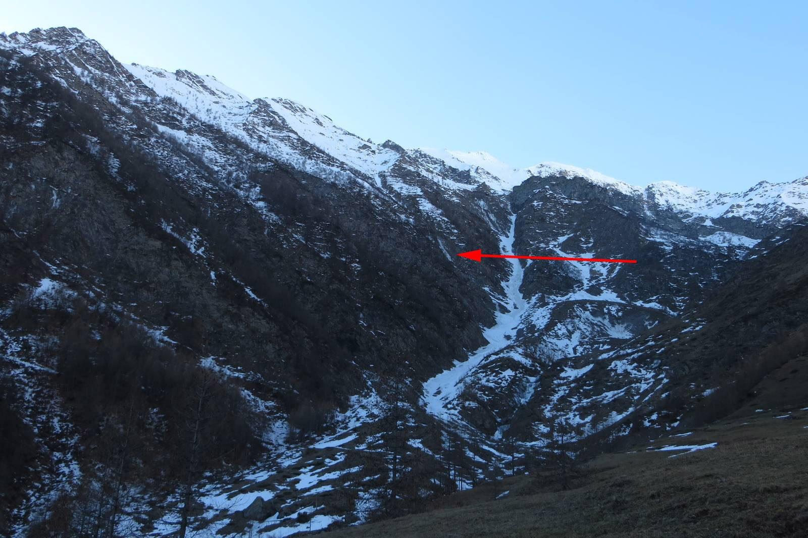 la posizione della cascata dall'alpe di crosenna