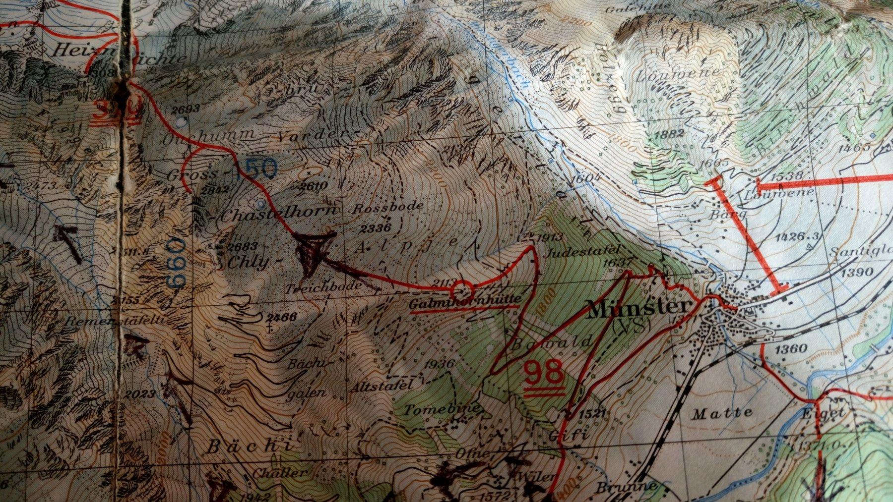 La cartina con itinerario