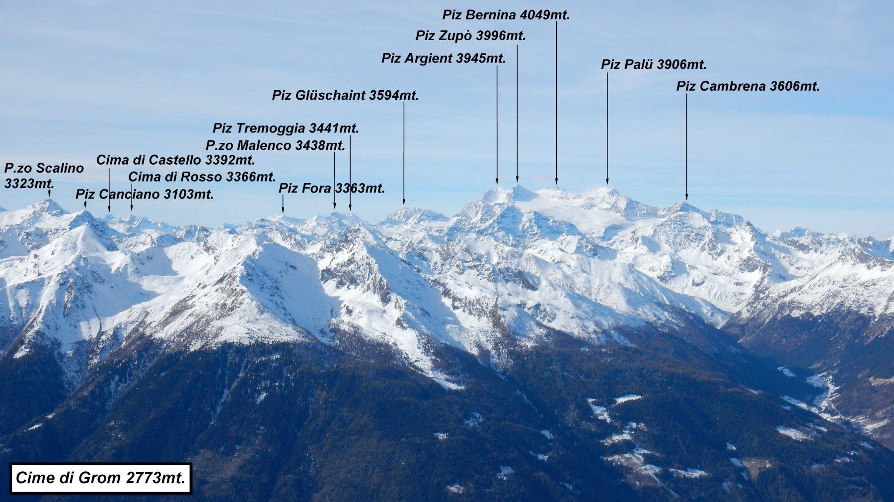 Panorama per me inedito, sul Gruppo Bernina.