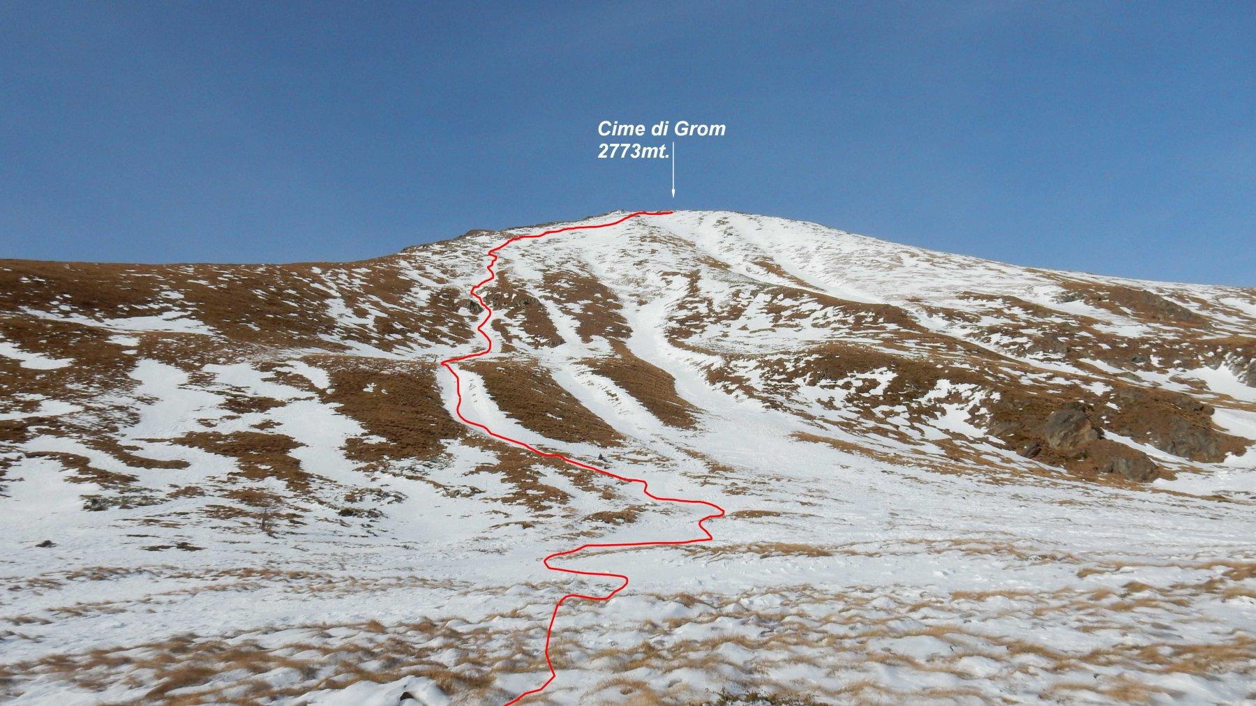 In rosso la traccia di discesa dalle Cime di Grom.