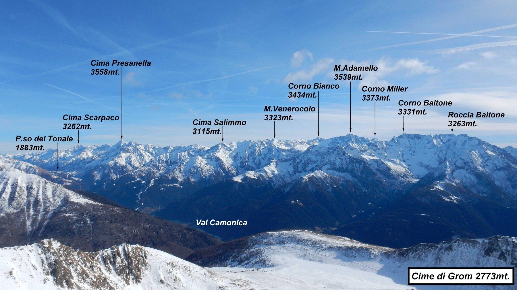 Panorama su Gruppo Presanella -Adamello -Baitone.